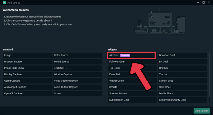 Adding Alert Box widget on Streamlabs OBS