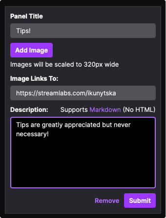 Twitch Panel title