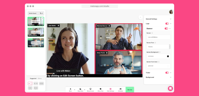 Melon is the web-based live streaming studio that allows you to invite guests, share your screen and go live instantly! Stream privately or directly to Facebook, YouTube, LinkedIn and Twitch.
